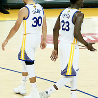 01 June 2017: Golden State Warriors guard Stephen Curry (30) is seen next to Golden State Warriors forward Draymond Green (23) during the Golden State Warriors 113-90 victory over the Cleveland Cavaliers, in game 1 of the 2017 NBA Finals, at the Oracle Arena, Oakland, California, USA.