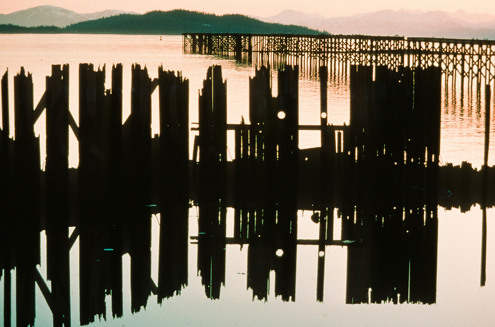 Alaska. Prince William Sound. Pilings from the abandoned dock at Ellamar. Sunset.
