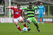 Forest Green Rovers Drissa Traoré(4) goes in for a tackle during the Vanarama National League match between Forest Green Rovers and Wrexham FC at the New Lawn, Forest Green, United Kingdom on 18 March 2017. Photo by Shane Healey.