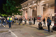 Protesters outside the Federal Courthouse in downtown Portland Oregon on the 51st night of protests against the murder of George Floyd.