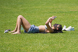 © Licensed to London News Pictures. 09/06/2021.Sheffield, UK. A member of the public enjoys the hot weather in Endcliffe Park in Sheffield this afternoon.Photo credit: Ioannis Alexopoulos/LNP