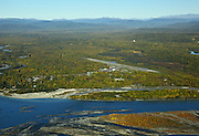Alaska. Aerial of Talkeetna, Alaska with the Susitna River in the foreground.