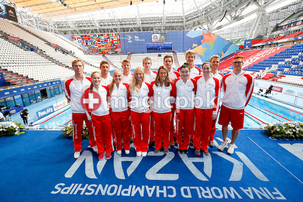 Swimmers of Team Switzerland pose for a photo during the 16th FINA World Swimming Championships held at the Kazan arena in Kazan, Russia, Sunday, Aug. 9, 2015. (Photo by Patrick B. Kraemer / MAGICPBK)