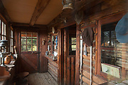 View of entrance to wooden Berghof Lodge in Bariloche, Argentina