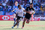 Jona Nareki steps inside a Fijian defender during Day 3 of the HSBC World Rugby Sevens, Mens Semi Final match between New Zealand and Fiji, 2019, Spotless Stadium, Saturday 3rd February 2019. Copyright Photo: David Neilson / www.photosport.nz