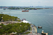 View of Battery Park, Castle Clinton and New York Harbor from 10 West Street, 19th floor