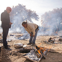 Isaac Nelson (left), 14, a student at To'hajiilee Community School and David Tom (center) a teacher at To'hajiilee Community School take the temperature of a turkey to check if it's ready, Tuesday, Nov. 20, in To'hajiilee. Over 30 turkeys were cooked in the ground during the annual turkey-in-the-hole celebration at To'hajiilee Community School.