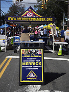 Merrick, New York, USA. September 9, 2017.  Lots of Long Islanders visit the Merrick Fair - with booths for area schools, organizations, businesses and politicians, and its carnival rides - during a pleasant late summer day.