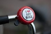 Bike bell on handlebar.