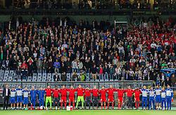 Players of Switzerland during football match between National teams of Slovenia and Switzerland at Round 2 of Euro 2016 Qualifications, on October 9, 2014 in Stadium Ljudski vrt, Maribor, Slovenia. Photo by Vid Ponikvar / Sportida.com