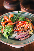 Spicey beef salad prepared at the Four Seasons Resort cooking school, Chiang Mai