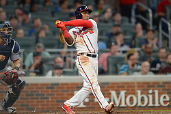 May 31, 2018 - Atlanta, GA, U.S. - ATLANTA, GA Ð MAY 31:  Atlanta's Ozzie Albies (1) watches his RBI double to right field during the game between Atlanta and Washington on May 31st, 2018 at SunTrust Park in Atlanta, GA.  The Atlanta Braves beat the Washington Nationals by a score of 4 - 2.  (Photo by Rich von Biberstein/Icon Sportswire) (Credit Image: © Rich Von Biberstein/Icon SMI via ZUMA Press)