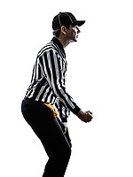 american football referee gestures clipping in silhouette on white background