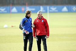 18.02.2014, Imtech Arena, Hamburg, GER, 1. FBL, HSV Training, im Bild Rene Adler (Torwart / HSV / n15), Mirko Slomka (Trainer / HSV) // during a Trainingssession of German Bundesliga Club Hamburger SV Imtech Arena in Hamburg, Germany on 2014/02/18. EXPA Pictures © 2014, PhotoCredit: EXPA/ Eibner-Pressefoto/ DAP<br /> <br /> *****ATTENTION - OUT of GER*****