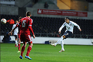 England's Tom Ince (7) shoots at goal from long range but his effort goes over the crossbar. UEFA 2015 European U21 championship, group one qualifier , Wales u21 v England u21 at the Liberty Stadium in Swansea, South Wales on Monday 19th May 2014. <br /> pic by Andrew Orchard, Andrew Orchard sports photography.