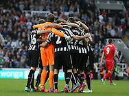 The Newcastle celebrate together at the final whistle - Barclays Premier League - Newcastle Utd vs Liverpool - St James' Park Stadium - Newcastle Upon Tyne - England - 1st November 2014  - Picture Simon Bellis/Sportimage