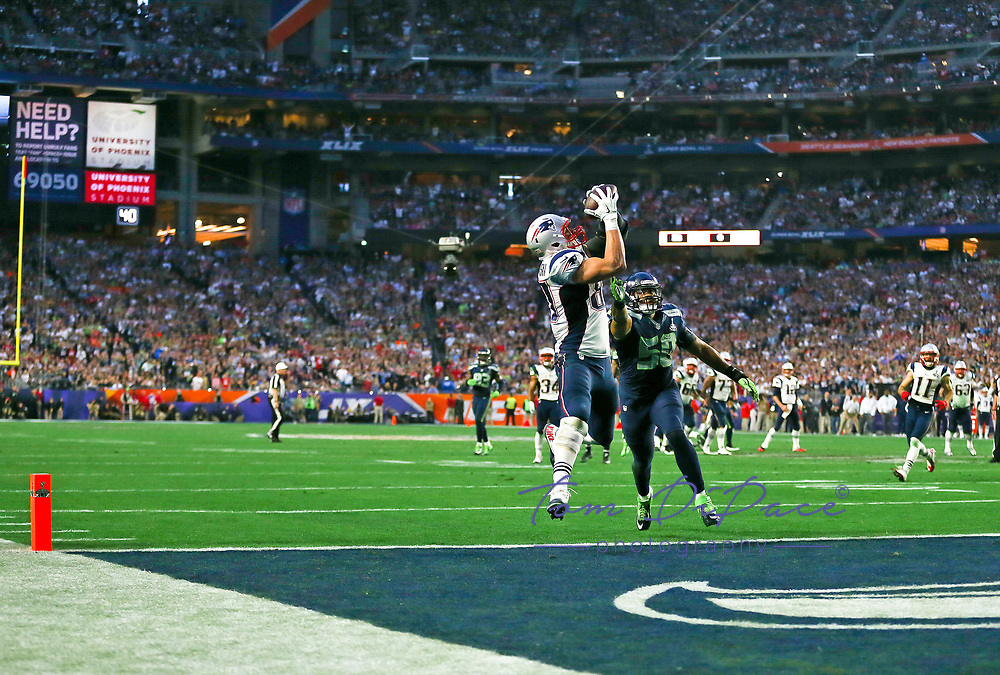 NE Patriots Rob Gronkowski  plays against the Seattle Seahawks during Super Bowl XLIX on Feb. 2, 2015<br />  (Photo/Tom DiPace)