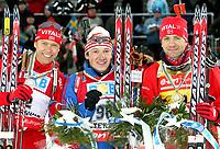 Skiskyting<br /> VM 2008<br /> Östersund Sverige<br /> 09.02.2008<br /> Sprint<br /> Foto: Gepa/Digitalsport<br /> NORWAY ONLY<br /> <br /> Halvard Hanevold (NOR), Maxim Tchoudov (RUS) und Ole Einar Bjørndalen (NOR)