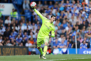 Goalkeeper Thibaut Courtois of Chelsea in action.  Barclays Premier league match, Chelsea v Leicester city at Stamford Bridge in London on Sunday 15th May 2016.<br /> pic by John Patrick Fletcher, Andrew Orchard sports photography.