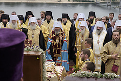 July 26, 2017 - Kiev, Ukraine - Priests of the Ukrainian Orthodox Church of the Moscow Patriarchate pray during a procession marking the Christianisation of the country, which was known as Kievan Rus at the time, by its grand prince Vladimir I (Vladimir the Great) in 988AD, in Kyiv, Ukraine July 27, 2017. (Credit Image: © Maxym Marusenko/NurPhoto via ZUMA Press)
