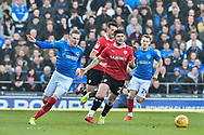 Portsmouth Midfielder, Ronan Curtis (11) gets away from Barnsley Midfielder, Alex Mowatt (27) during the EFL Sky Bet League 1 match between Portsmouth and Barnsley at Fratton Park, Portsmouth, England on 23 February 2019.