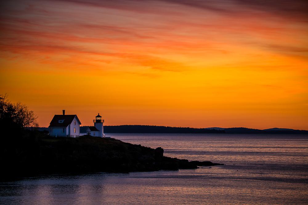 Curtis Island Lighthouse, Camden Harbor, Maine, sunrise