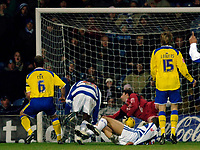 Photo: Daniel Hambury.<br />Queens Park Rangers v Cardiff City. Coca Cola Championship. 28/12/2005.<br />QPR's Marc Nygaard (on ground) scores the only goal.