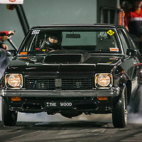 Mark Rothwell driving his Super Sedan Holden Torana 'The Wood' at the Perth Motorplex's Top Fuel Challenge in November 2005