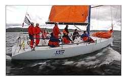 Yachting- Sundays inshore racing  of the Bell Lawrie Scottish series 2003 at Tarbert Loch Fyne. Again light westerly winds and flat water made for tactical racing...Hamish McKay and crew in their chartered Kerr 11.3 Blue Bell of Kip in Class one...Pics Marc Turner / PFM