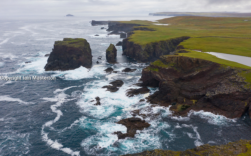 Dramatic cliffs on coast at Eshaness at Northmavine , north mainland of Shetland Islands, Scotland, UK