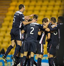 Falkirk's Blair Alston celebrates after scoring their goal. <br /> Half time : Livingston 0 v 1 Falkirk, Scottish Championship played13/12/2014 at The Energy Assets Arena.
