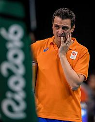 14-08-2016 BRA: Olympic Games day 9, Rio de Janeiro<br /> Servië wordt knap met 3-2 verslagen. Daardoor is Oranje verzekerd van een plek bij de eerste twee in de poule. / Coach Giovanni Guidetti