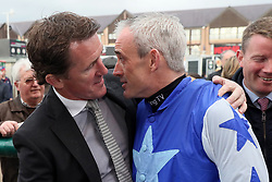 Ruby Walsh with Tony McCoy after Walsh announced his retirement, during day two of the Punchestown Festival at Punchestown Racecourse, County Kildare, Ireland.