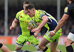 Sale Sharks' Luke James (centre) in action during the Aviva Premiership match at Sandy Park, Exeter. PRESS ASSOCIATION Photo. Picture date: Saturday April 28, 2018. See PA story RUGBYU Exeter. Photo credit should read: Mark Kerton/PA Wire. RESTRICTIONS: Editorial use only. No commercial use.