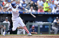 July 2, 2017 - Kansas City, MO, USA - Kansas City Royals' Alcides Escobar connects on an RBI double to score Ramon Torres in the fourth inning against the Minnesota Twins on Sunday, July 2, 2017 at Kauffman Stadium in Kansas City, Mo. (Credit Image: © John Sleezer/TNS via ZUMA Wire)
