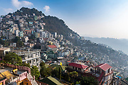 Overlook over the houses perched on he hills in Aizawl, Mizoram, India