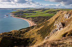 Looking into Ringstead Bay from White Nothe on the Jurassic Coast, Dorset, England, UK.