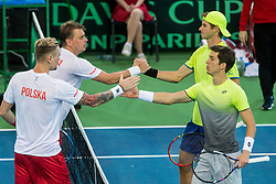 Mateusz Kowalczyk and Marcin Matkowski of Poland congrats to Blaz Rola and Aljaz Bedene of Slovenia after playing doubles during the Day 2 of Davis Cup 2018 Europe/Africa zone Group II between Slovenia and Poland, on February 4, 2018 in Arena Lukna, Maribor, Slovenia. Photo by Vid Ponikvar / Sportida