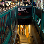 Stairs To 50 Street Subway Station In Manhattan, New York City, USA