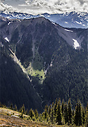 Peaks surround the trail from Obstruction Point in Olympic National Park. (Steve Ringman/The Seattle Times)
