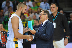 Jonas VALANCIUNAS of Lithuania after the friendly match between National Teams of Slovenia and Lithuania before World Championship Spain 2014 on August 18, 2014 in Kaunas, Lithuania. Photo by Robertas Dackus / Sportida.com
