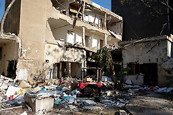 © Licensed to London News Pictures. 16/08/2020. Beirut, Lebanon. Destroyed buildings in the Karantina district of Beirut following the huge explosion in Beirut Port on 4 August. Photo credit : Tom Nicholson/LNP