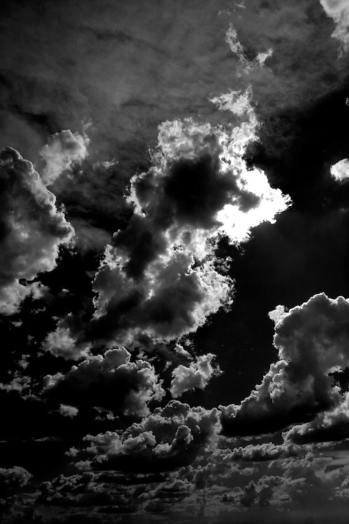 clouds, sky, black and white, cloudy, sun, sunshine