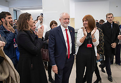 © Licensed to London News Pictures. 29/10/2019. London, UK. Labour Party Leader Jeremy Corbyn is applauded by party members at headquarters after announcing that he will support an early general election. The government are expected to call for another vote on a general election in Parliament later today. Photo credit: Peter Macdiarmid/LNP