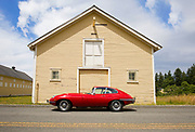 Image of a 1960's Red Jaguar E Type in Washington state, Pacific Northwest by Randy Wells