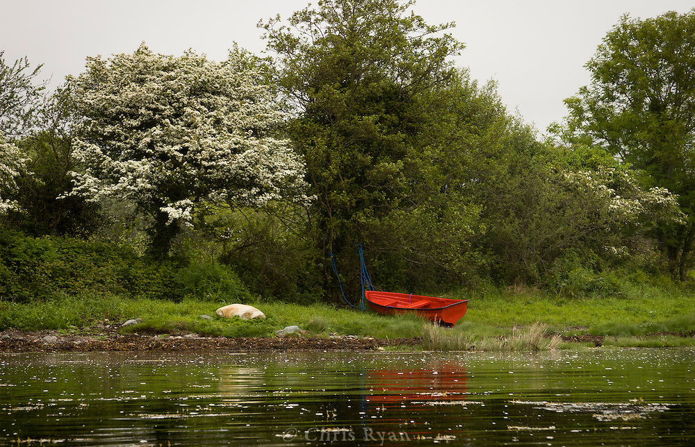 Red boat in Kenmare Bay, County Kerry, Ireland