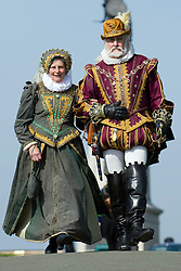 © under license to London News Pictures.  19/03/2011 A couple dressed as Sir Francis Drake and Lady Drake walk along The Hoe, in Plymouth, Devon. Picture credit sould read: David Hedges/LNP