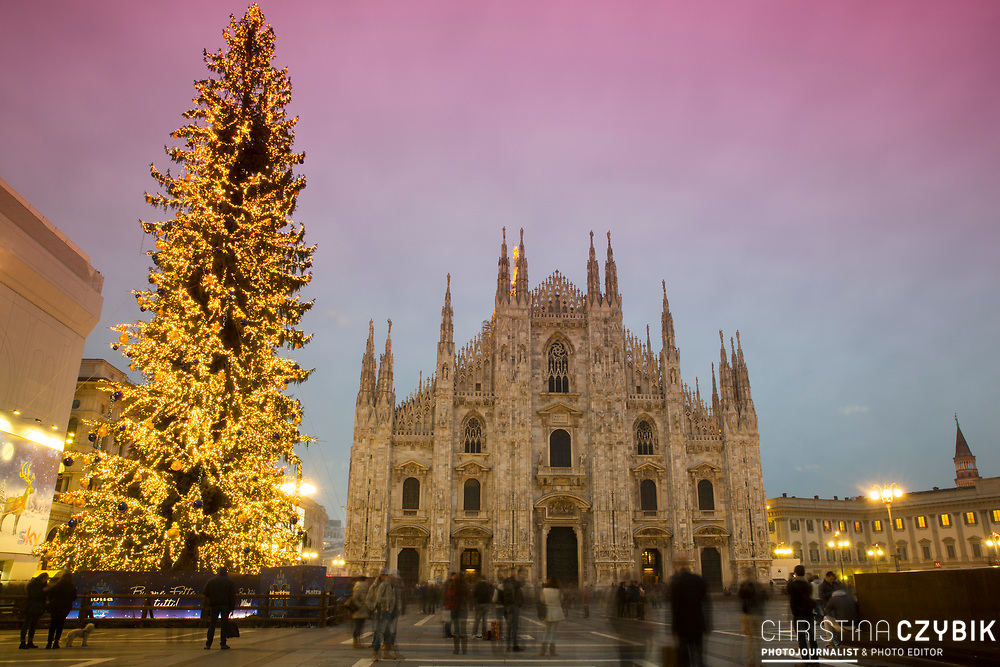 Christmas Shopping in Milan: The Cathedral of Milan with Plaza del Duomo and Christmas Tree at Sunset
