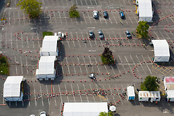 VIDEO AVAILABLE https://we.tl/t-FzsOTVRXLZ © Licensed to London News Pictures. 16/09/2020. Chessington, UK. A Coronavirus testing centre set up in a car park at Chessington World of Adventures, south west of London, remains mostly quiet with only a trickle of people arriving for tests with six vehicles shown here. The Government have been criticised as people are facing delays getting tested for the virus. Photo credit: Peter Macdiarmid/LNP