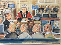 Defendants (left to right).....Doyle, Harbinson, Lincoln and Wood<br /> Prosecution barrister Philip Evans